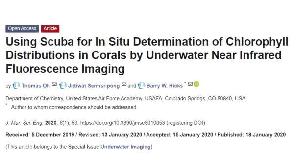 Using Scuba for In Situ Determination of Chlorophyll Distributions in Corals by Underwater Near Infrared Fluorescence Imaging